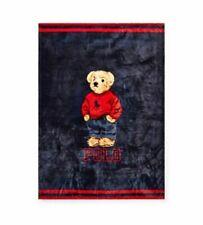 NWT Polo Ralph Lauren Home Sweatshirt Polo Bear Throw Blanket 50x70 Navy