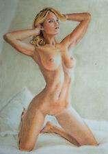 ORIGINAL Pastel  Drawing Painting Female Nude