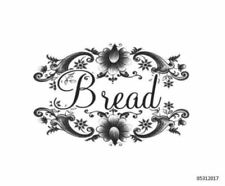 VinTaGe ImaGe Xl BlacK & WhiTe FloRaL SwaGs BreaD LaBeL ShaBby WaTerSliDe DeCal