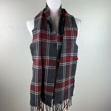 DOCKERS Men's winter KNIT SCARF Plaid Red Gray one size WOOL BLEND