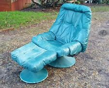 Retro 70s Style Leather Reclining Chair with Matching Footstool.