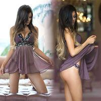 sexy robe de Lingerie Nuisette Femmes sous-vêtement Chemise nuit G-string NEUF