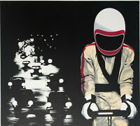 """Angelo TITONEL """"Notturno e corridore"""" , 1972 litografia originale firmata"""