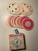 Vintage ABC Round Playing Cards Complete Set AS-IS Box Hot Pink Flower Design
