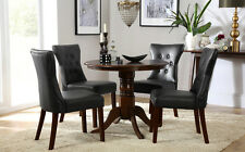 Kingston Round Dark Wood Dining Room Table & 4 Bewley Leather Chairs Set - Black