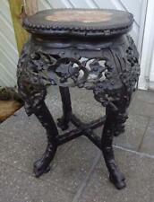 """Antique Asian Wood  Heavily Carved Plant Stand Marble Top 18 1/2 """" tall"""
