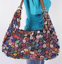 LARGE MULTICOLOR FLOWER Leather Shoulder Hobo Tote Satchel Purse Bag