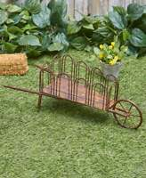 Farmhouse Rustic Metal Wheelbarrow Outdoor Yard Art Lawn Garden Country Decor