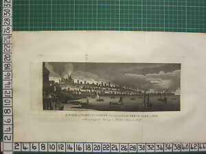 1793 ANTIQUE LONDON PRINT ~ THE FIRE OF LONDON 1666