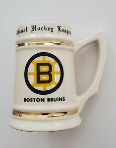 Vintage 1980s Boston Bruins Ceramic Mug Stein Glass NHL Hockey Bobby Orr