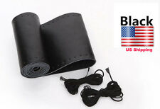 38CM Black Genuine Leather Steering Wheel Cover Wrap Sew-on Kit For All Car