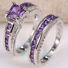 2.5ct Amethyst 925 Silver Women Wedding Engagement Ring Set 2pcs Cocktail