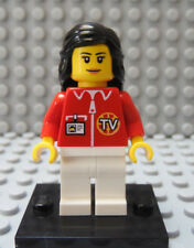 LEGO Town Girl Female TV New Reporter Broadcaster Minifig with Stand Black Hair