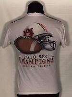 Auburn Tigers Logo NCAA SEC Football 2010 SEC Champions Small S White T-shirt