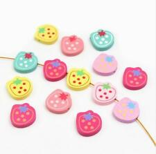 50PCS Cartoon Strawberry Wood Bead Spacer Beads Kids Pacifier Clip Necklace 23mm