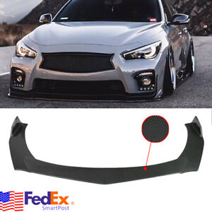 Carbon Look Front Bumper Lip Spoiler Fit For Infiniti Q50 Q60 Sport Base G37 G35