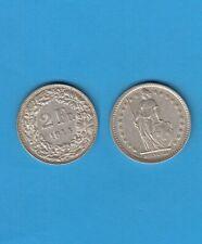 § Suisse  Swiss  Helvétia  2 Francs argent  1944  Helvétia debout Silver coin