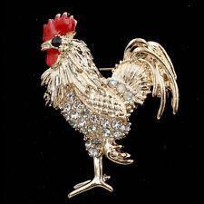 Chapado en oro del rhinestone Gallo Broche; Gallito; Chino Año del Gallo
