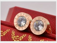 Silver Gold Rose Gold Titanium Stainless Steel Round Cubic Zircon Stud Earrings