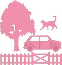 Marianne Collectables Dies - Village Decoration - Car, Cat, Tree, Fence -COL1383