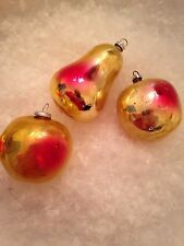 3 Antq Feather Tree Golden Peach Pear Apple Mercury Glass XMAS Ornaments Germany