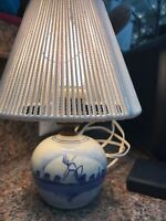 Vintage Delft Holland Porcelain Windmill Night Light Table Lamp Hand-Painted