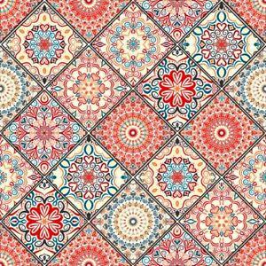 4 x Single Paper Table Napkin/33cm/3-Ply/Decoupage/Mandala/Boho Chic Style/Tile