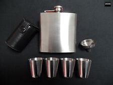 WSM Flachmann Set Edelstahl 7-teilig - Flasche, 4 Becher, Fülltrichter &Etui OVP