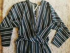 Asos Size 16 Green Black Stripe Dress Batwing Sleeve work party occasion