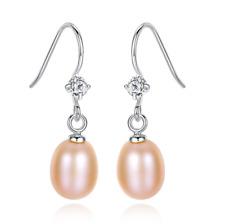 Pink Freshwater Cultured Pearl Sterling Silver CZ Drop Dangle Hook Earrings PE27