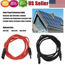 Extension Cable Electrical Cord Solar Panel Adaptor Kit waterproof Red +Black