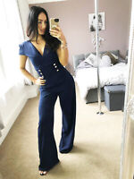 Navy Gold Button Detail Palazzo Womens Jumpsuit Crossover Womens UK Size
