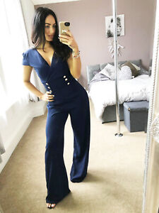 Quiz Navy Gold Button Detail Palazzo Womens Jumpsuit Crossover Womens UK Size