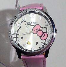Hello Kitty Clear Austrian Rhinestone Girls Ladies Wrist Quartz Watch - Pink
