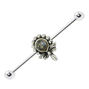 Flower Design 14ga Industrial Barbell with Burnished Silver Charm