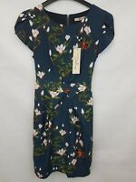 DARLING Ladies dress short sleeve blue floral polyester size S new with tags 02