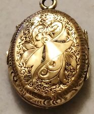 Victorian Antique 14K Yellow Gold Enamel Hand Etched Photo Locket Charm Pendant