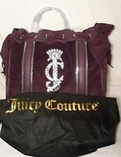 NEW Juicy Couture PURPLE Chain Rhinestone Velour Daydreamer Shoulderbag Purse