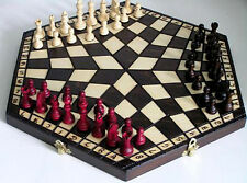 Schach, Schachspiel für Drei Schachbrett 40 x 35 cm, Holz