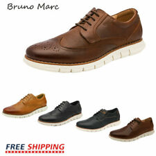 Bruno Marc Mens Genuine Leather Shoes Casual Lace Up Business Dress Oxford Shoes