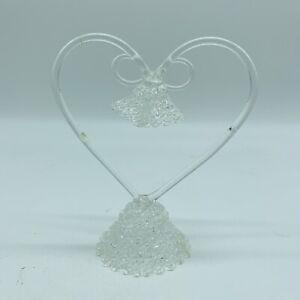 """Glass Heart Wedding Cake Topper Wedding Bells 6"""""""