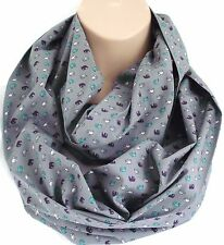 Grey Elephant Print Scarf Circle Loop Infinity Snood - Perfect Gift
