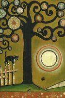 PRINT OF PAINTING RYTA BLACK TUXEDO CAT ABSTRACT FOLK ART LANDSCAPE SPRING TREE