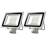 2X 100W PIR LED Floodlight Day White 6000-6500K Outdoor Landscape Security Light