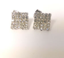 Square Clear CZ Silver  Plated Stud Earrings