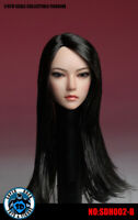SUPERDUCK SDH002B 1/6 female head long straight black hair f PALE Phicen Figure