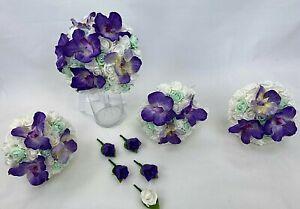 Hand-tied purple orchids/white/green foam diamante roses wedding bouquet set