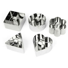 TRIXES Set of 5 Stainless Steel Cheesecake Presentation Baking Moulds Cookie Cut