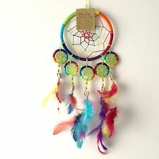 NEW RAINBOW AND SHELL FEATHER DREAM CATCHER NATIVE AMERICAN WALL HANGING MOBILE