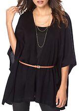 Ladies UK Plus Size 6 - 24 Black Oversize Cardigan with Tan Belt